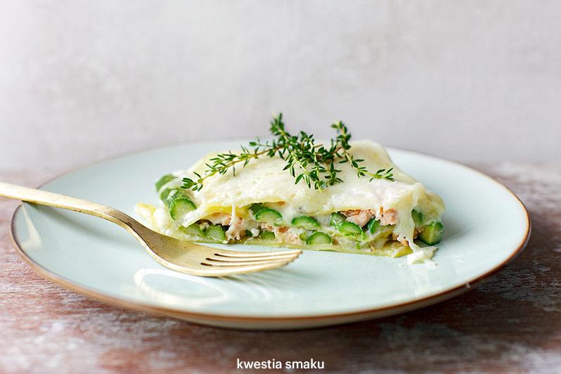Lasagne ze szparagami i łososiem