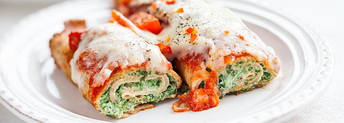 Nalesniki Ze Szpinakiem Zapiekane W Sosie Pomidorowym Z Mozzarella