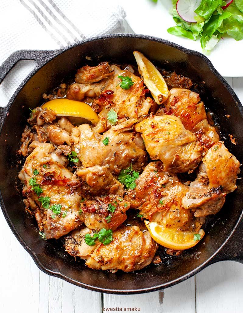 Pieczone Udka Kurczaka Z Tymiankiem I Cytryna
