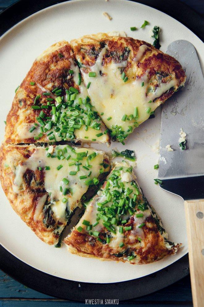 Tortilla Hiszpańska Z Ziemniakami Szpinakiem I Fetą