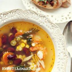 Zupa Meksykanska Z Krewetkami Czerwona Fasola I Kukurydza